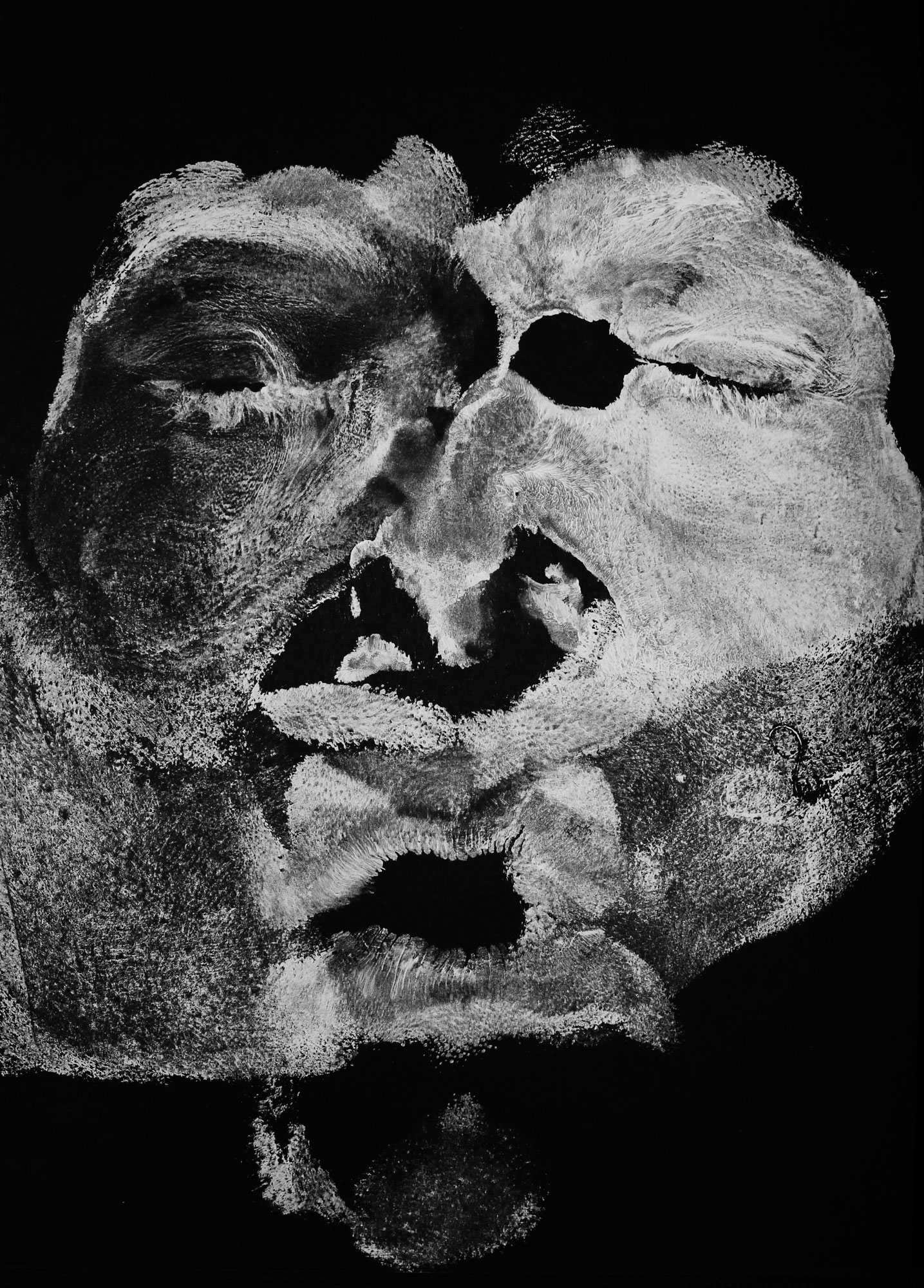 unique imprint of a face suggesting some emotion, in white color on black cardboard, with eyes drawn in white pastel